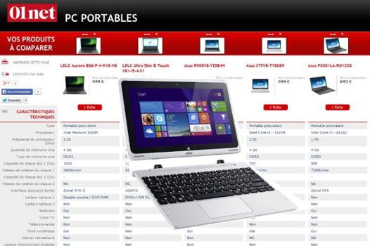 comparatifs ordinateurs portables
