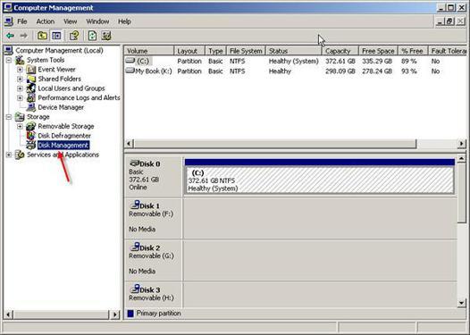 disque dur externe windows xp