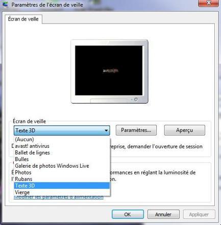 ecran de veille windows 7