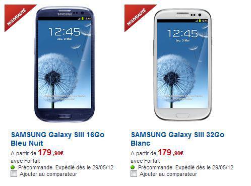le prix de samsung galaxy s3