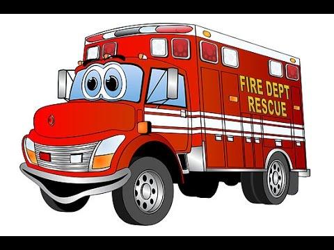 dessin animé voiture de pompier