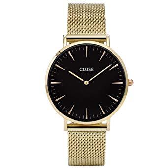montre cluse noir et or