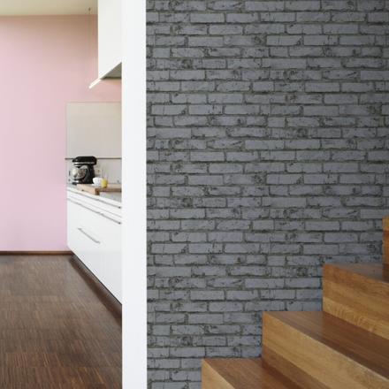 papier peint effet brique gris