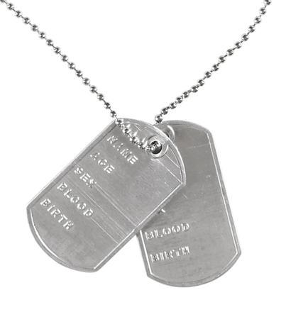 plaque militaire collier
